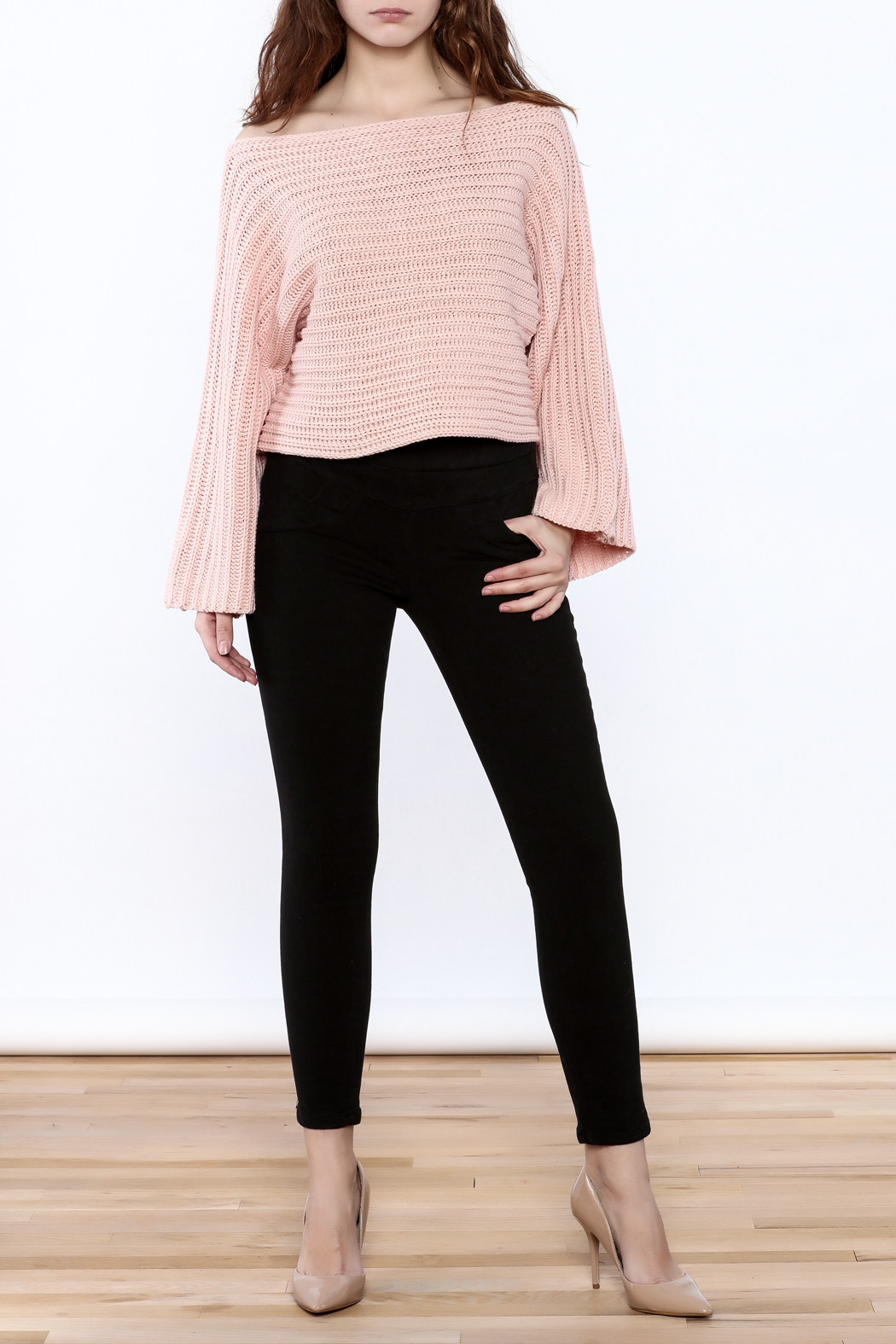 Pinkyotto Batwing Knit Cropped Sweater - Front Full Image