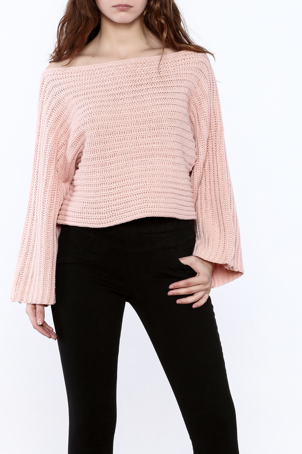 Pinkyotto Batwing Knit Cropped Sweater - Front Cropped Image