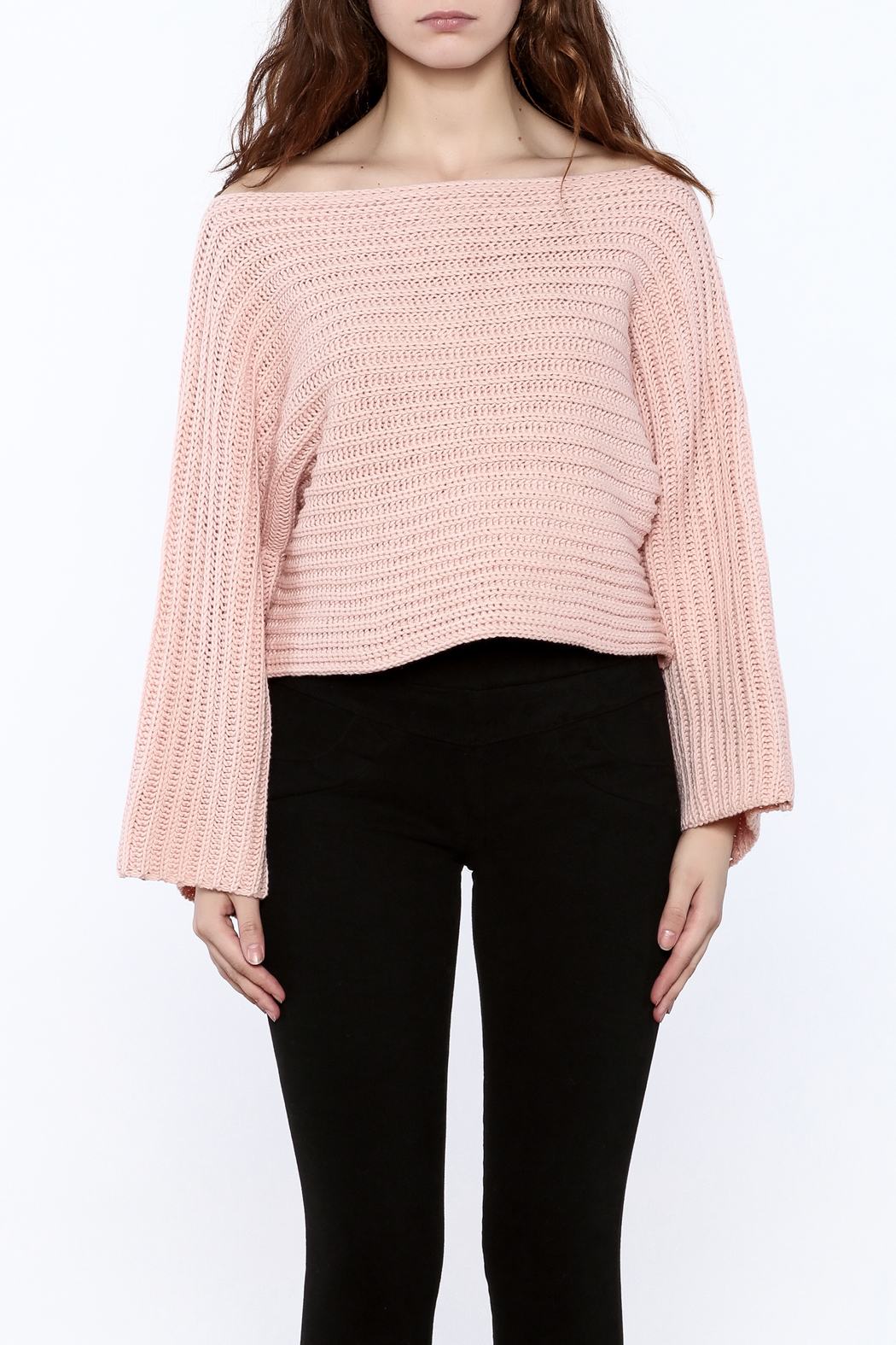 Pinkyotto Batwing Knit Cropped Sweater - Side Cropped Image