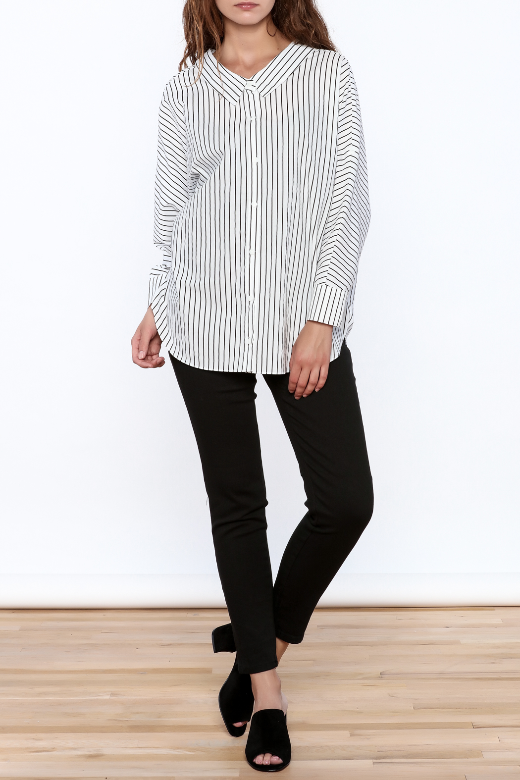 Pinkyotto Stripe Print Long Top - Side Cropped Image