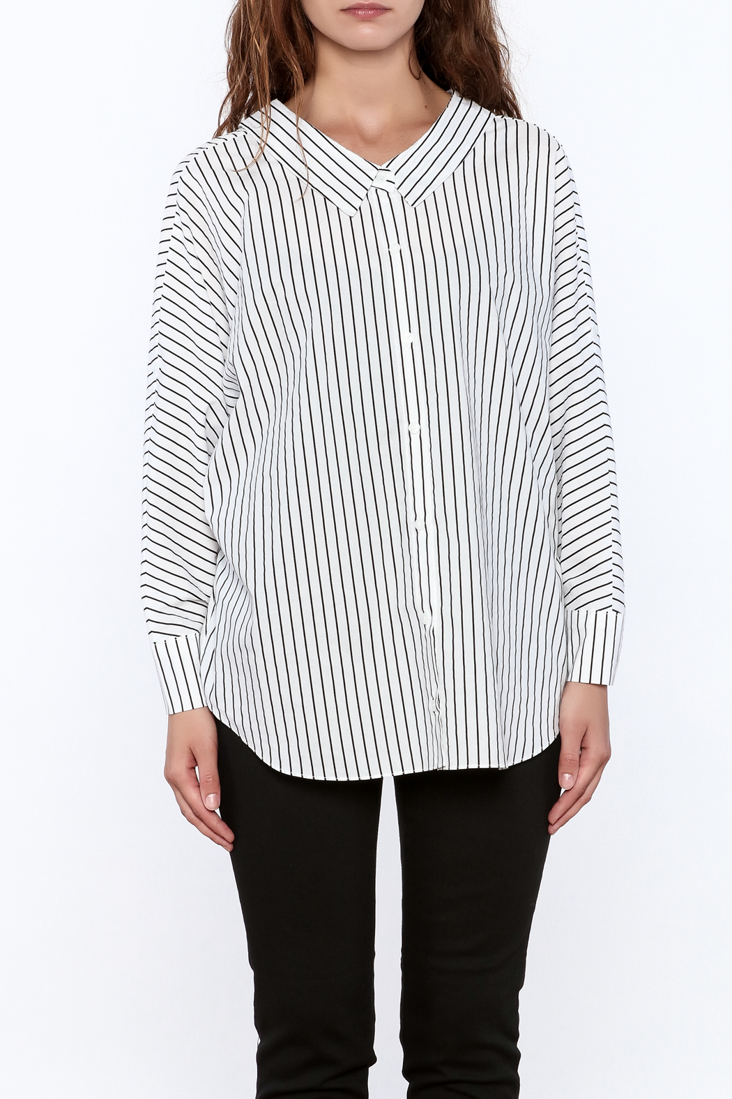 Pinkyotto Stripe Print Long Top - Front Full Image