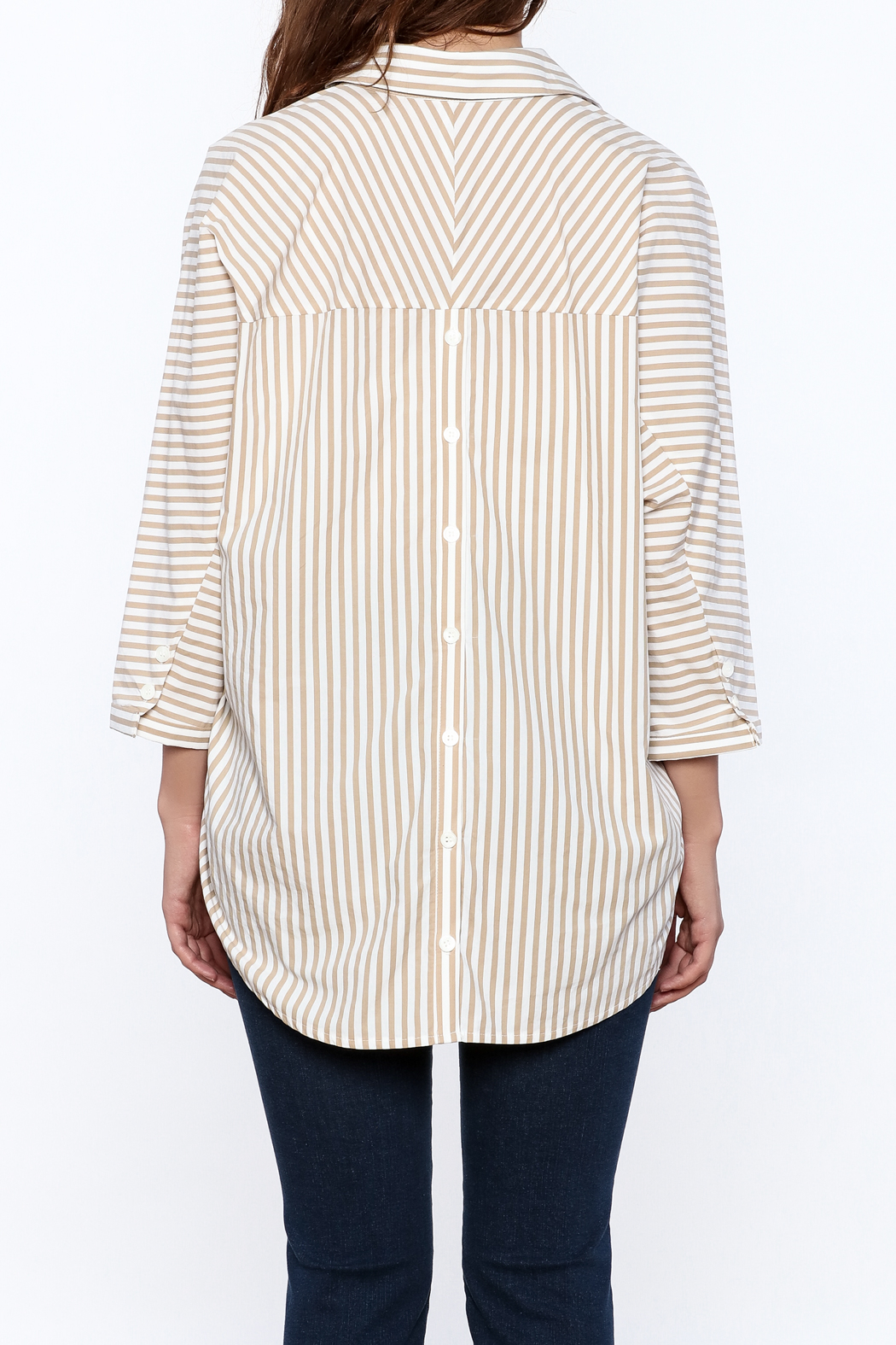 Pinkyotto Beige Long Top - Back Cropped Image