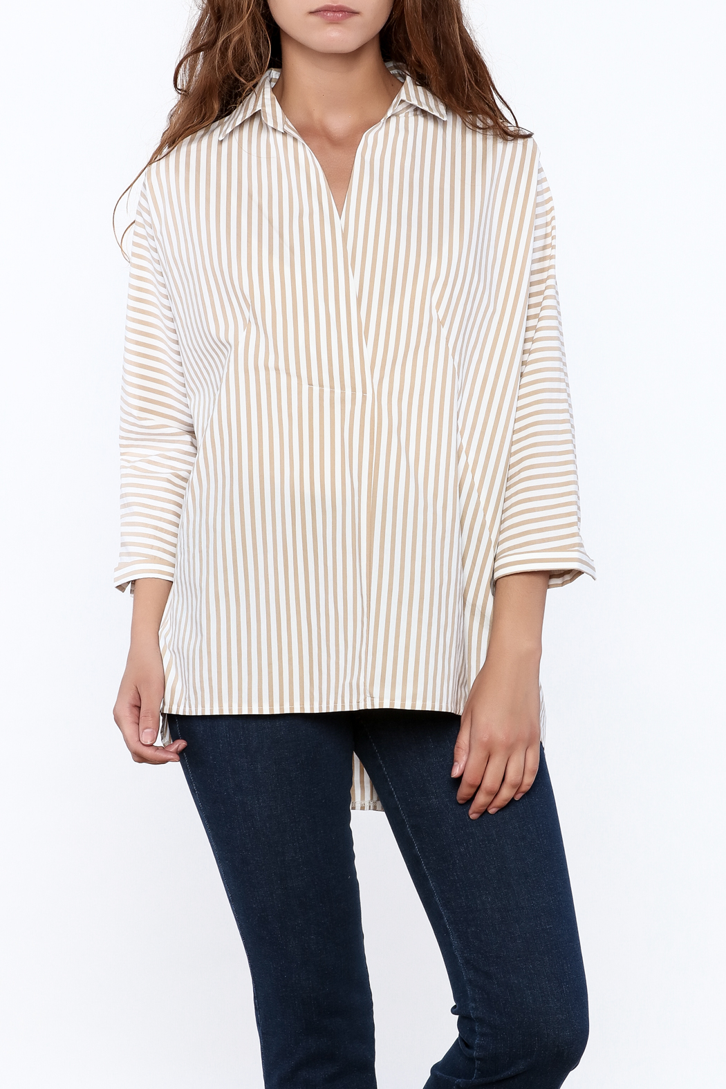 Pinkyotto Beige Long Top - Front Cropped Image