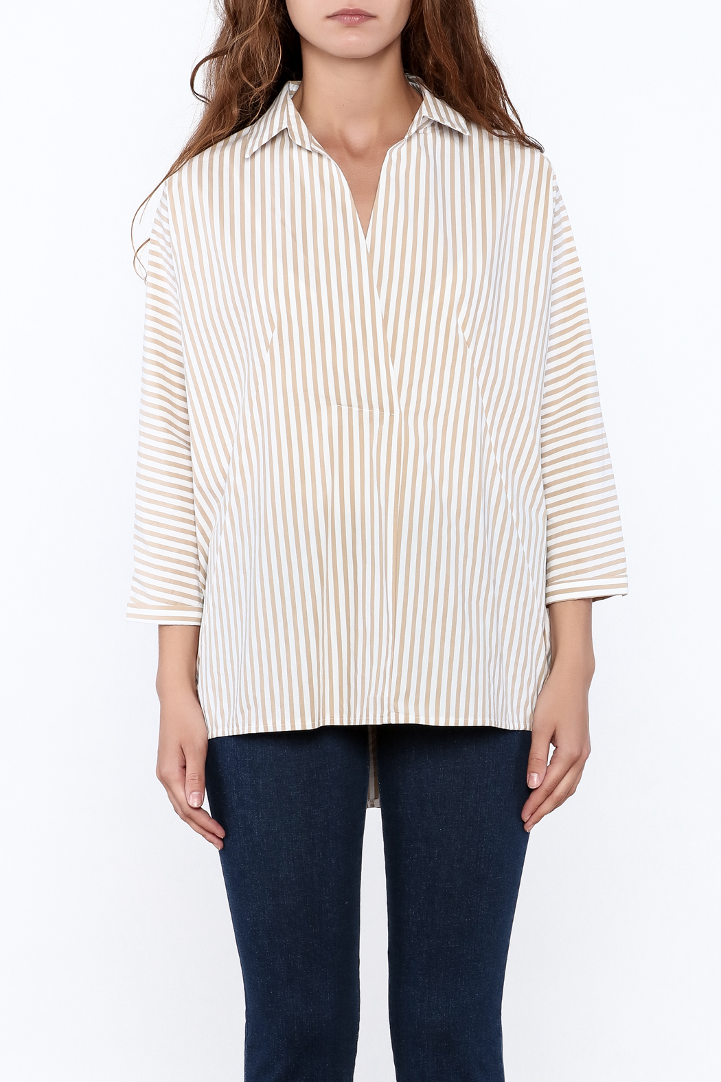 Pinkyotto Beige Long Top - Front Full Image