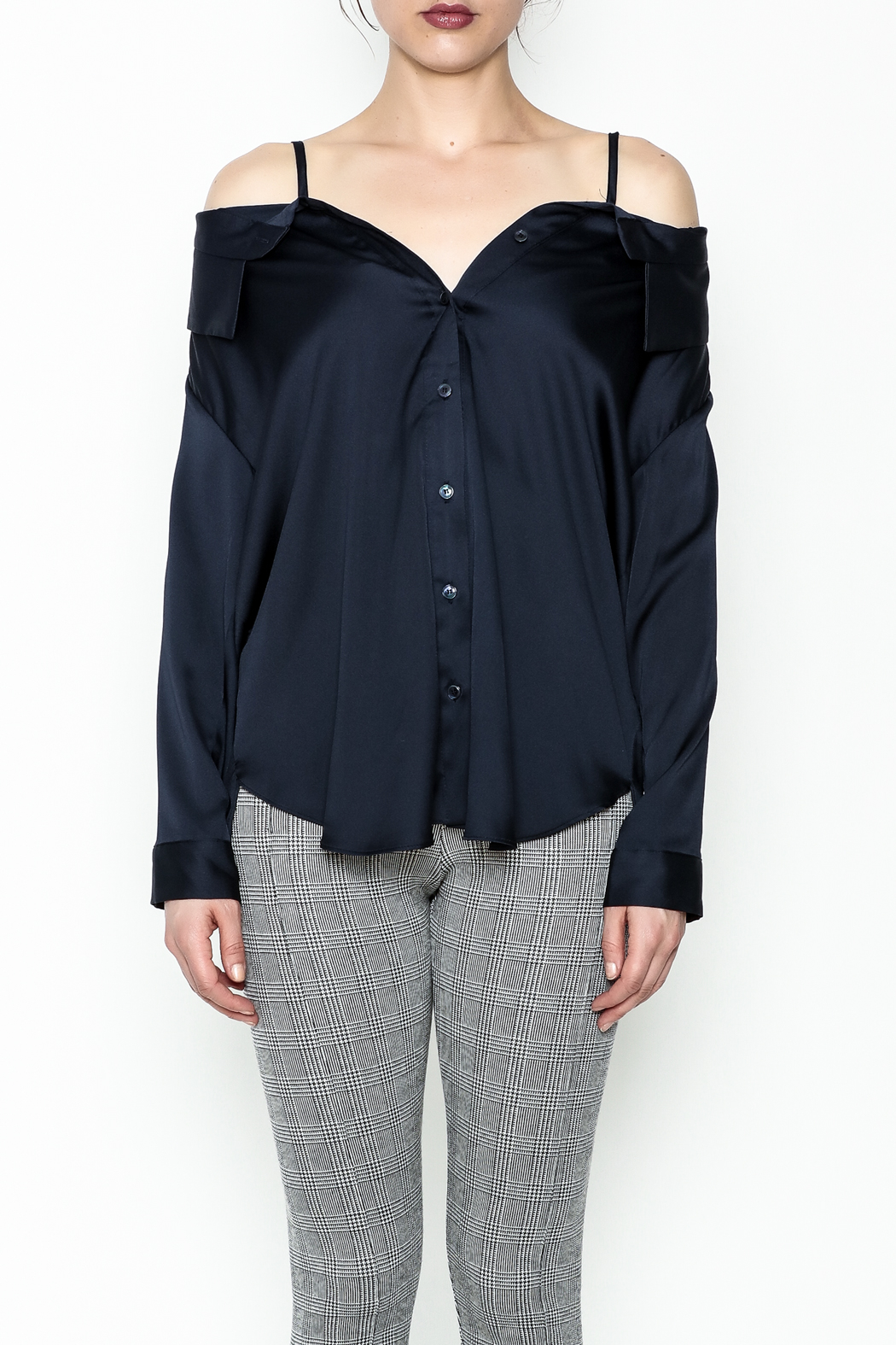 Pinkyotto Celine Button Up Top - Front Full Image