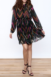 Shoptiques Product: Chevron Print Pleated Dress - Front full body