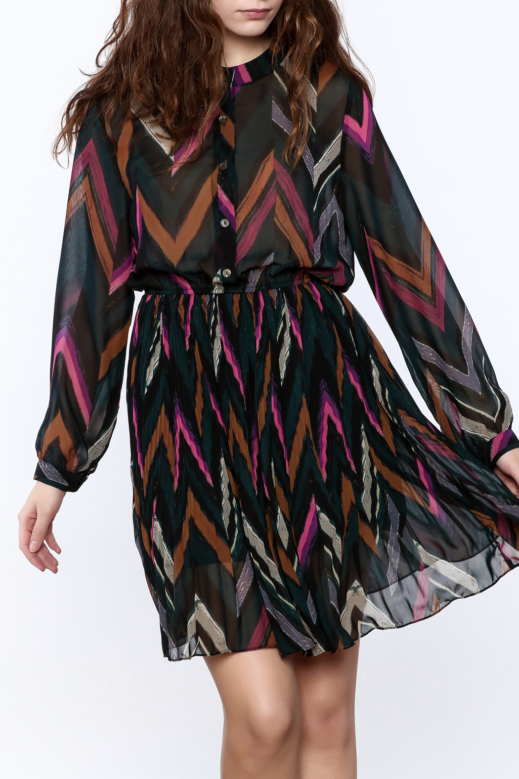 Pinkyotto Chevron Print Pleated Dress - Front Cropped Image