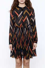 Shoptiques Product: Chevron Print Pleated Dress - Side cropped