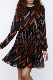 Shoptiques Product: Chevron Print Pleated Dress - Front cropped