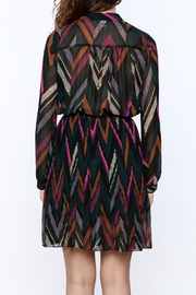 Shoptiques Product: Chevron Print Pleated Dress - Back cropped