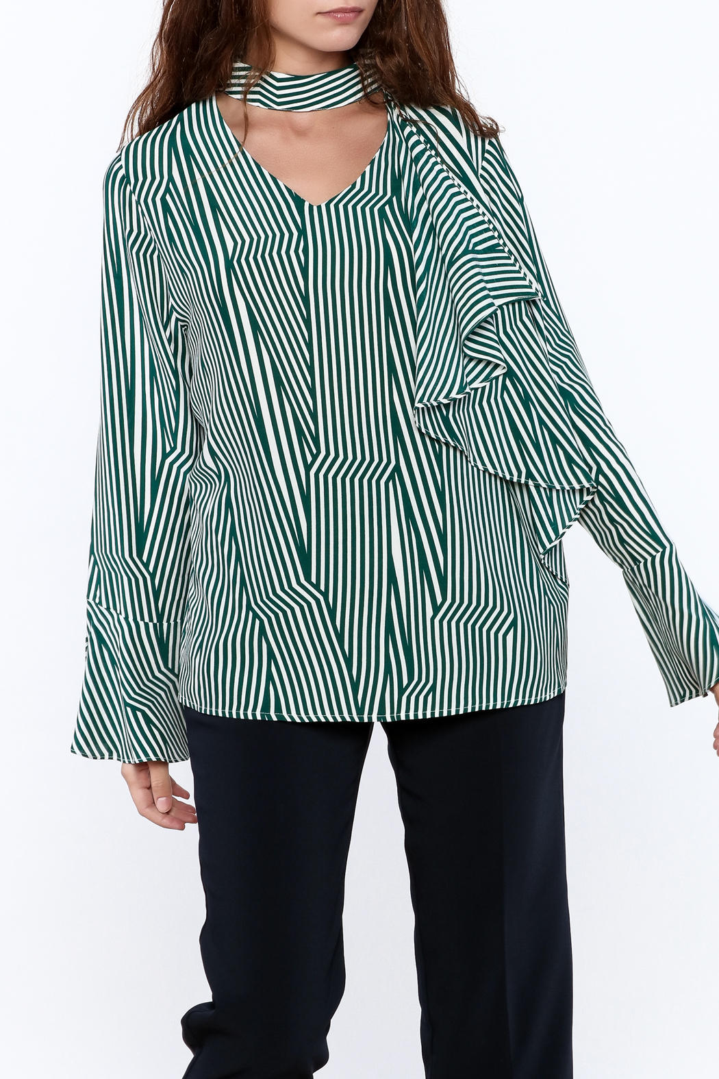 Pinkyotto Crooked Stripe Print Top - Front Cropped Image