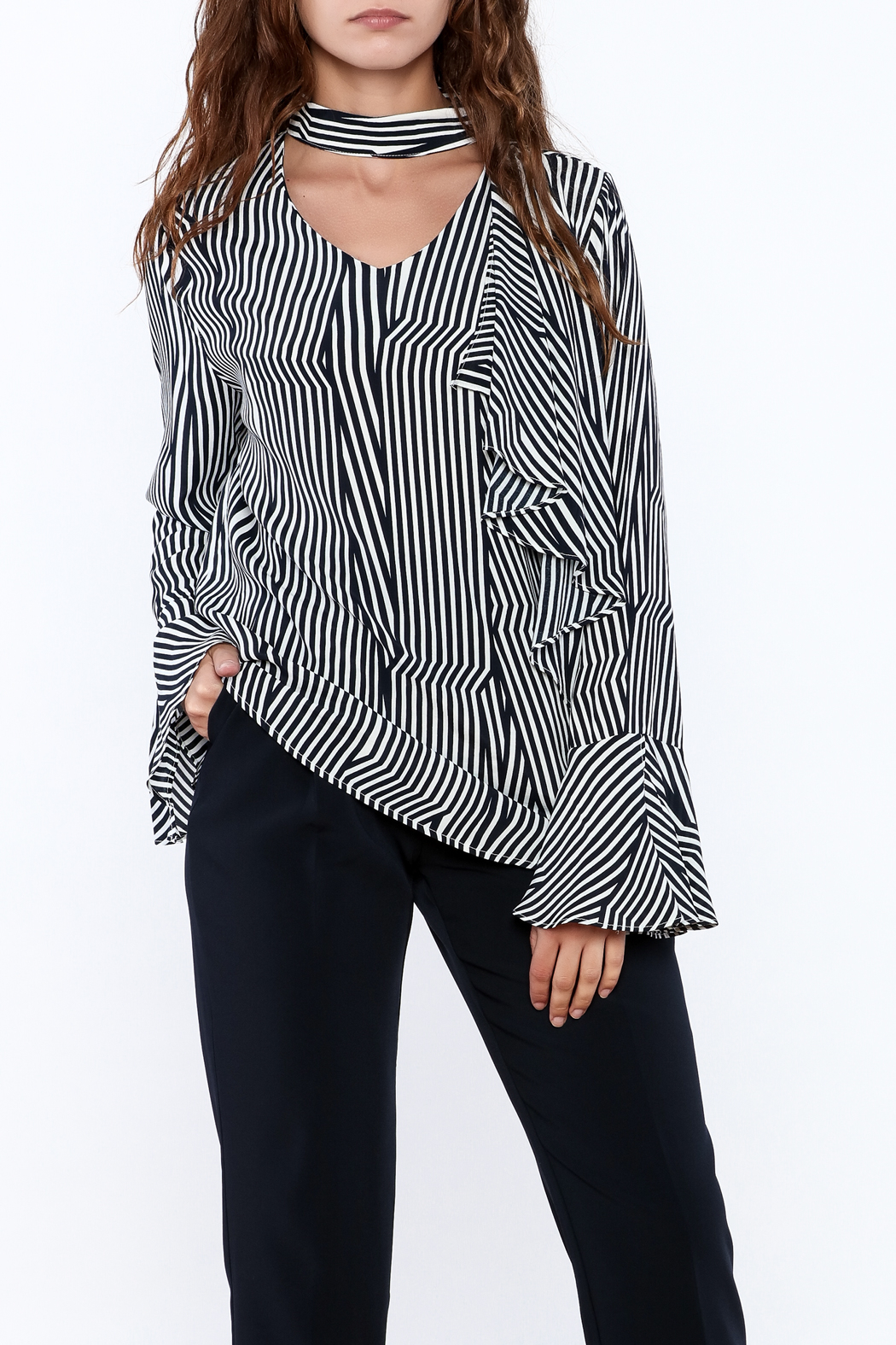 Pinkyotto Crooked Stripe Print Top - Main Image