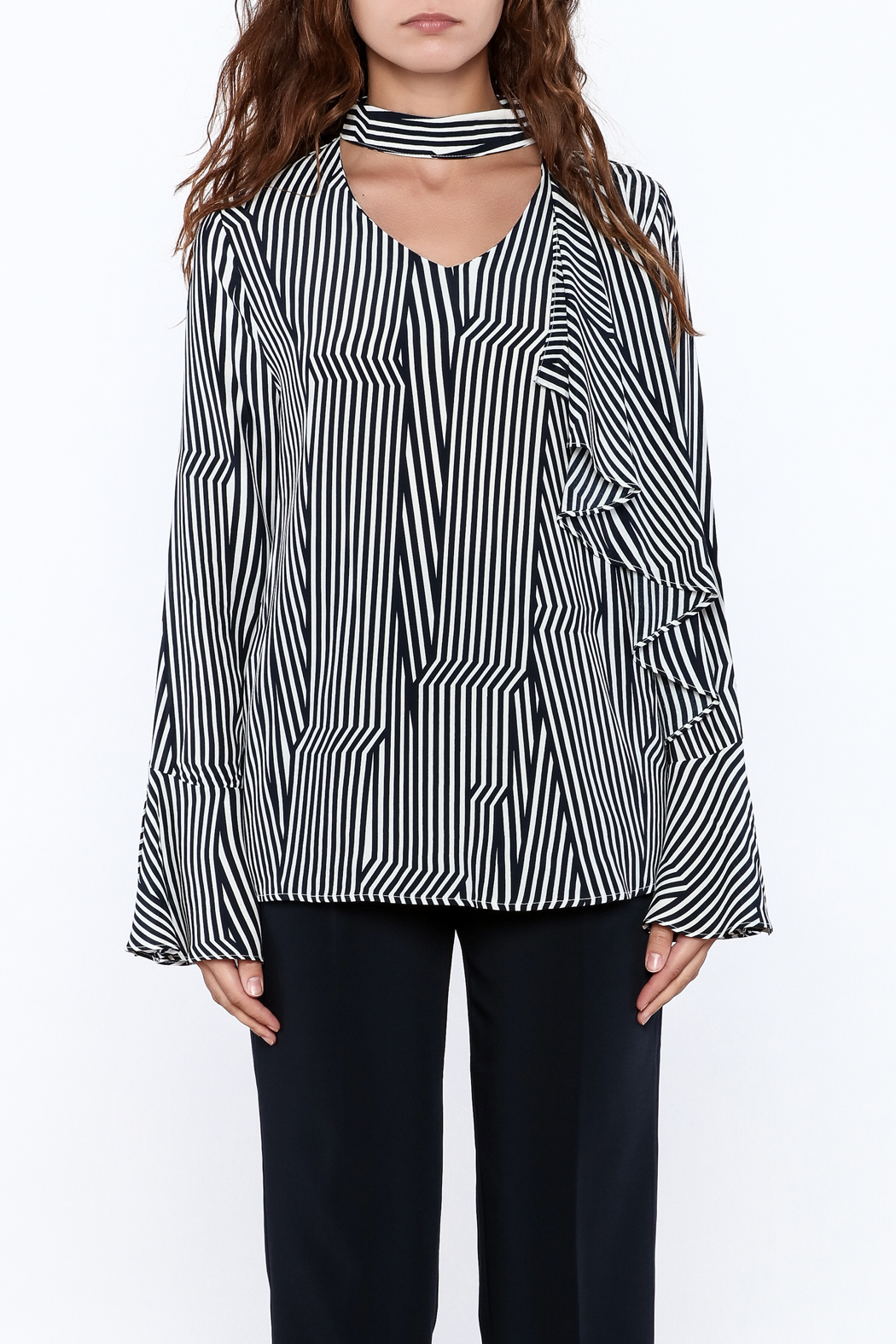 Pinkyotto Crooked Stripe Print Top - Front Full Image