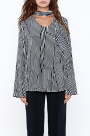 Pinkyotto Crooked Stripe Print Top - Front full body