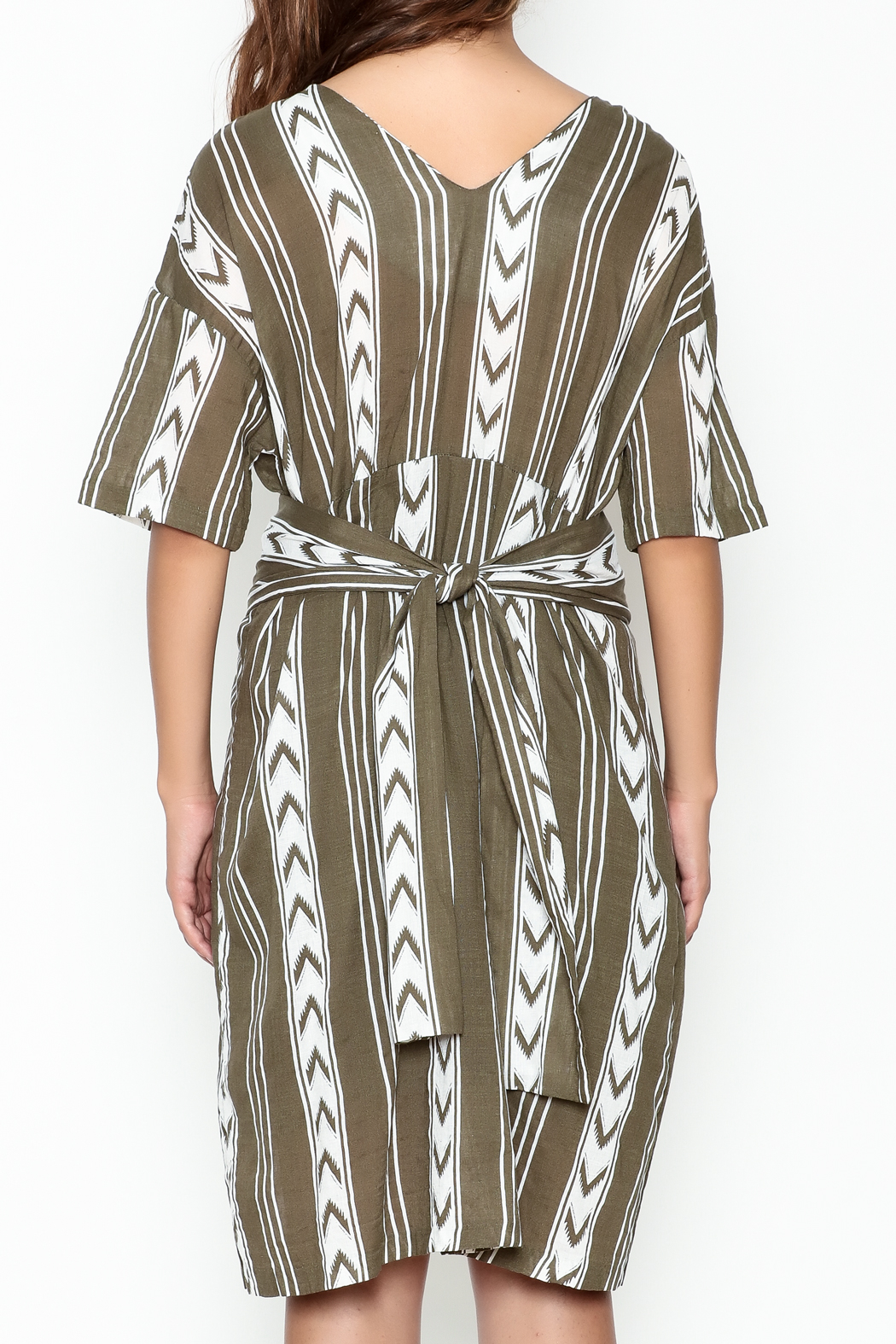 Pinkyotto Double V Tribal Tie Dress - Back Cropped Image