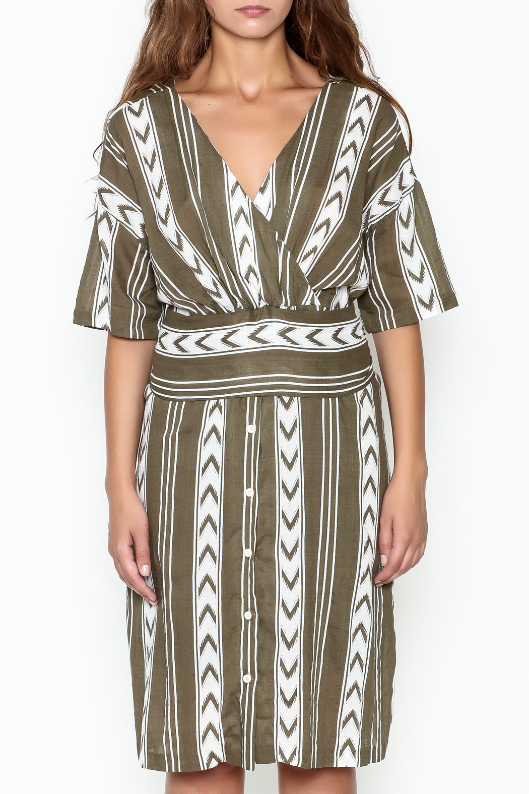 Pinkyotto Double V Tribal Tie Dress - Front Full Image