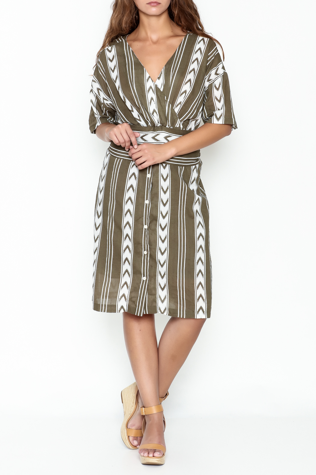 Pinkyotto Double V Tribal Tie Dress - Side Cropped Image