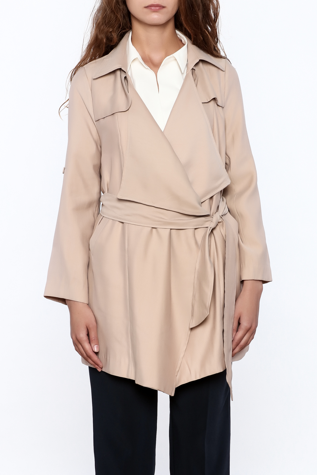Pinkyotto Beige Loose Trench Coat - Front Full Image