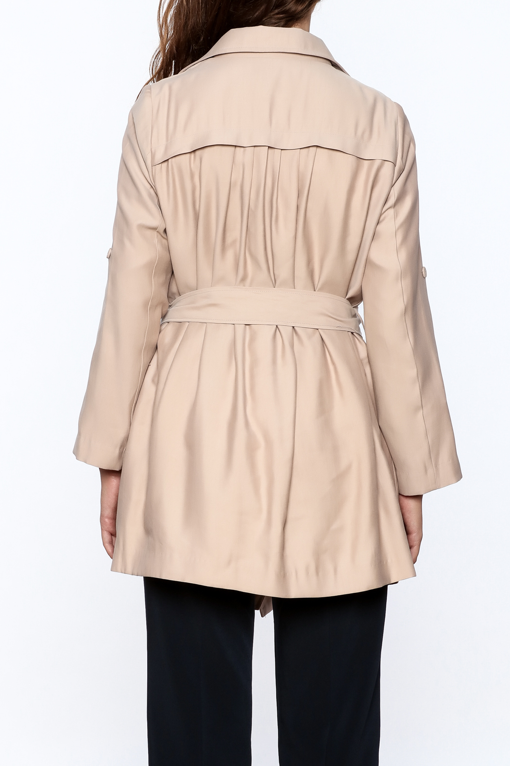 Pinkyotto Beige Loose Trench Coat - Back Cropped Image