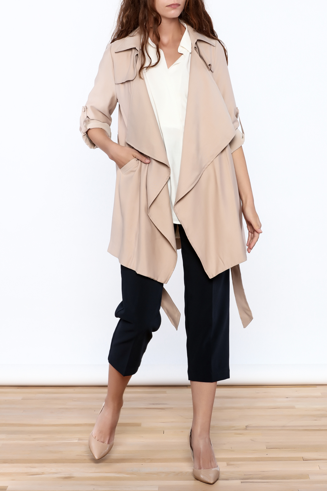 Pinkyotto Beige Loose Trench Coat - Side Cropped Image