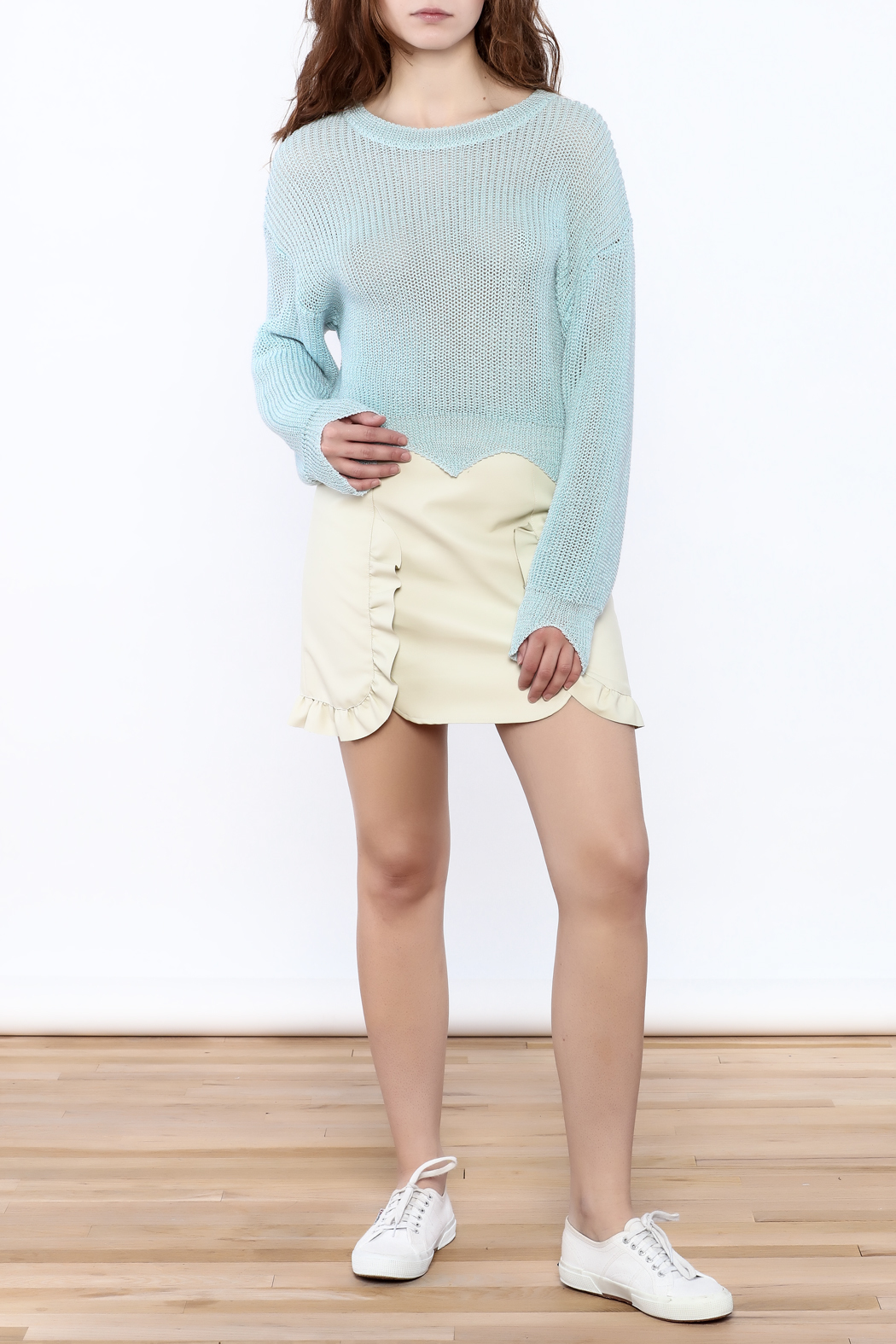 Pinkyotto Edgy Cropped Light Sweater - Front Full Image