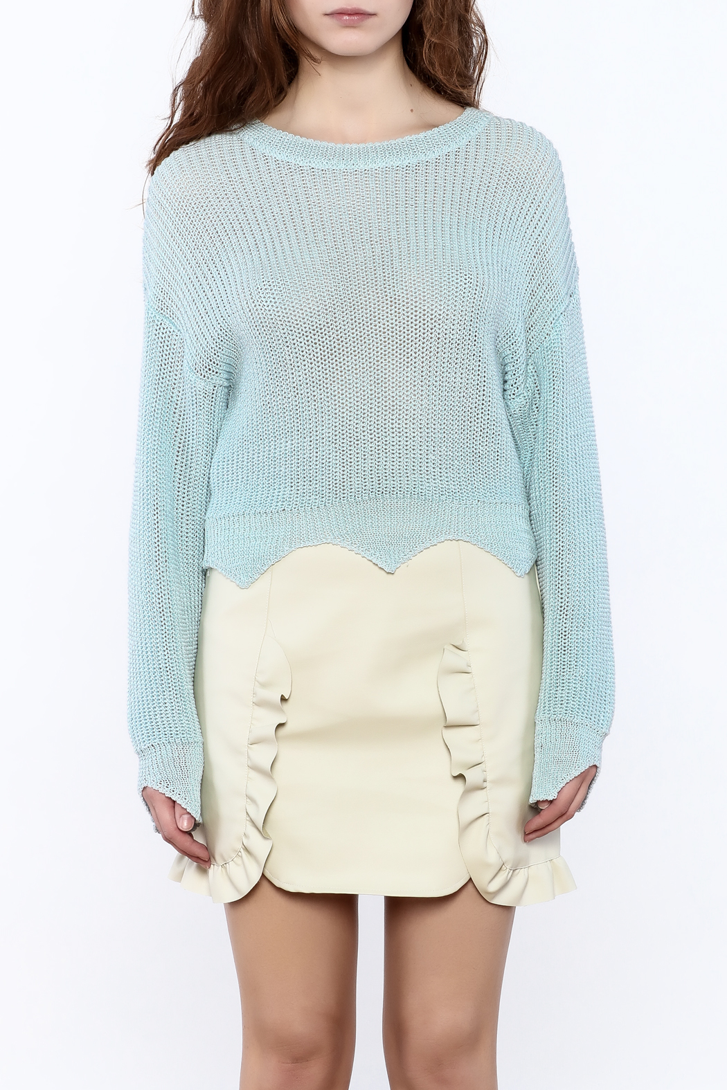 Pinkyotto Edgy Cropped Light Sweater - Side Cropped Image