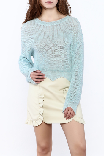Shoptiques Product: Edgy Cropped Light Sweater - main