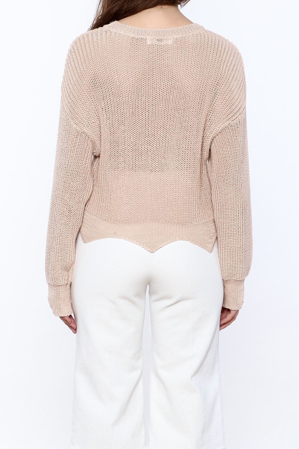 Pinkyotto Loose Knit Sweater - Back Cropped Image