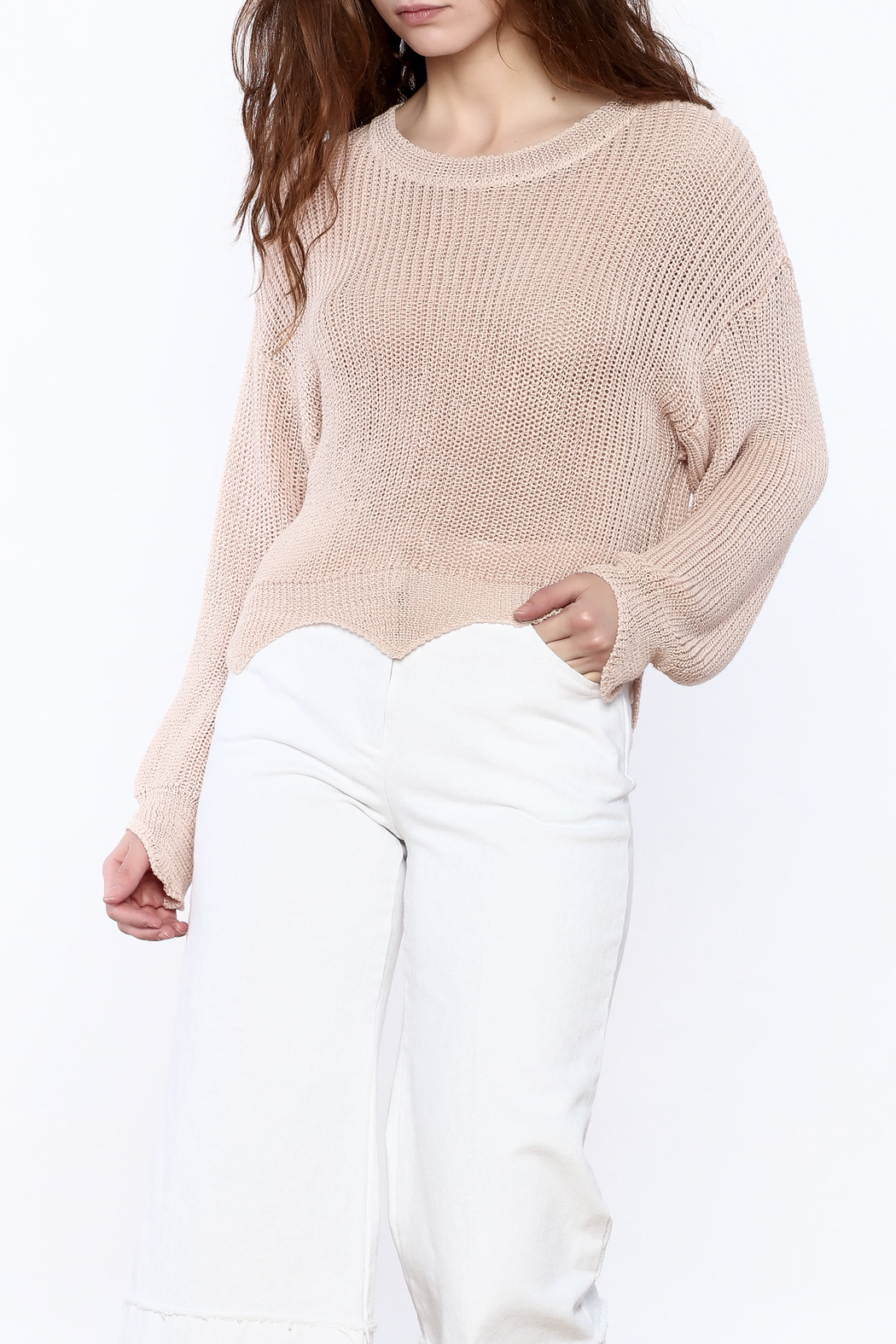 Pinkyotto Loose Knit Sweater - Front Cropped Image