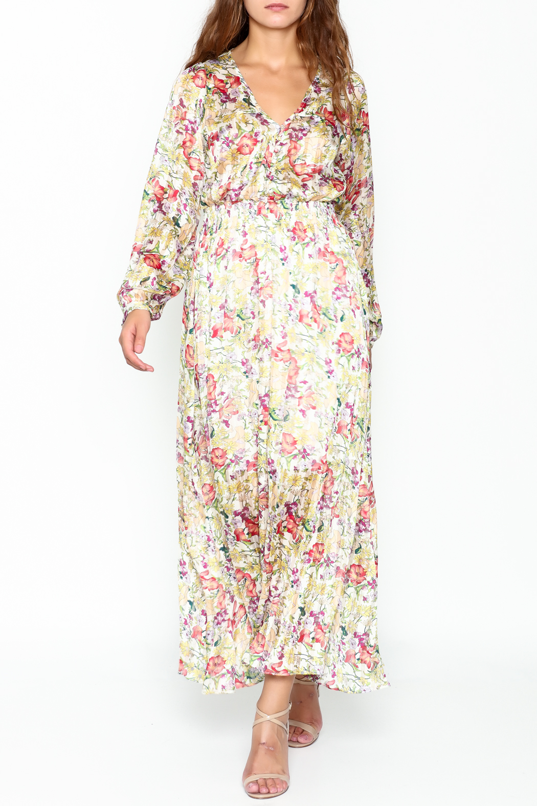 Pinkyotto Flowery Elastic Waist Dress - Front Cropped Image