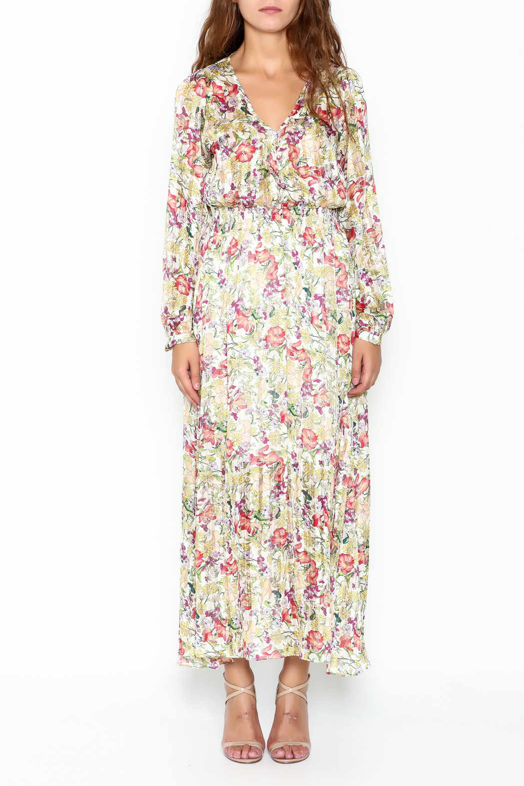 Pinkyotto Flowery Elastic Waist Dress - Front Full Image
