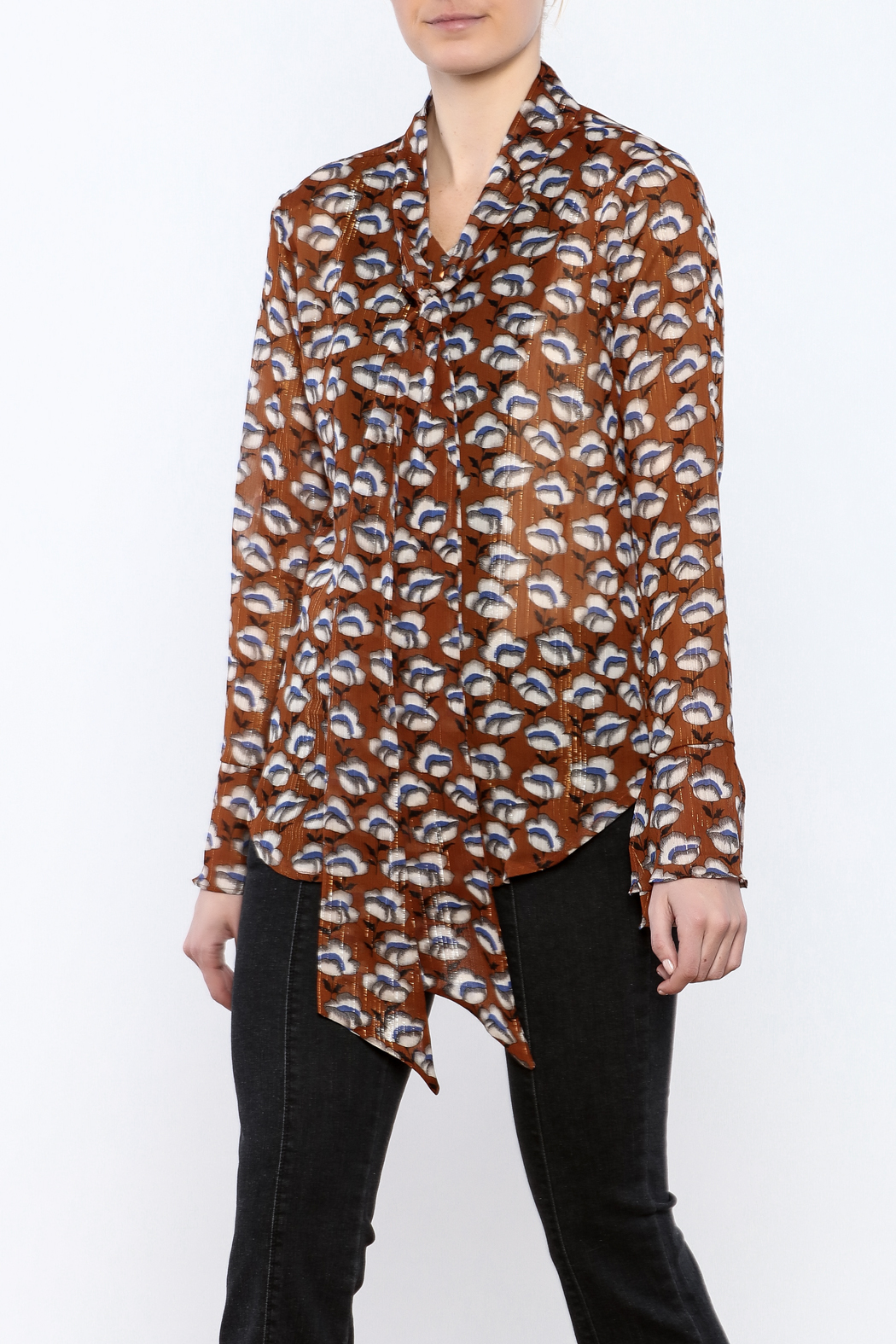 Pinkyotto Flowing Florals Tie Blouse - Main Image