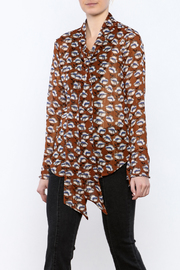 Shoptiques Product: Flowing Florals Tie Blouse - Front cropped