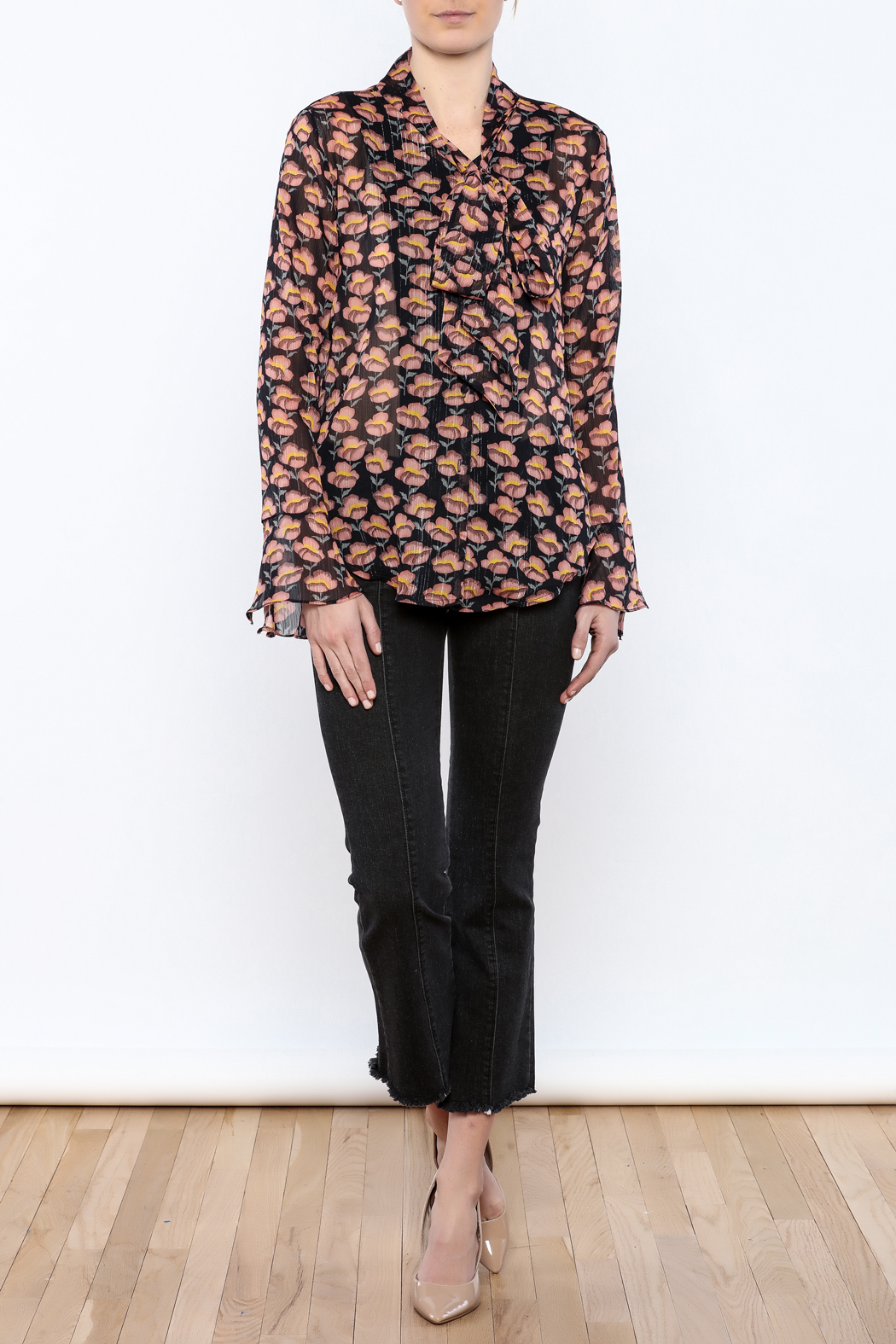 Pinkyotto Flowing Florals Tie Blouse - Front Full Image
