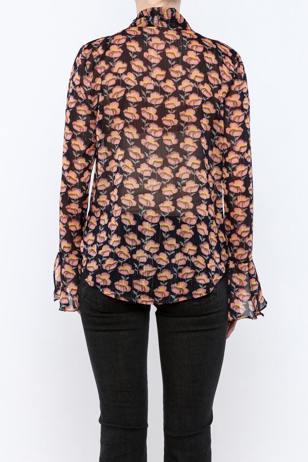 Pinkyotto Flowing Florals Tie Blouse - Back Cropped Image