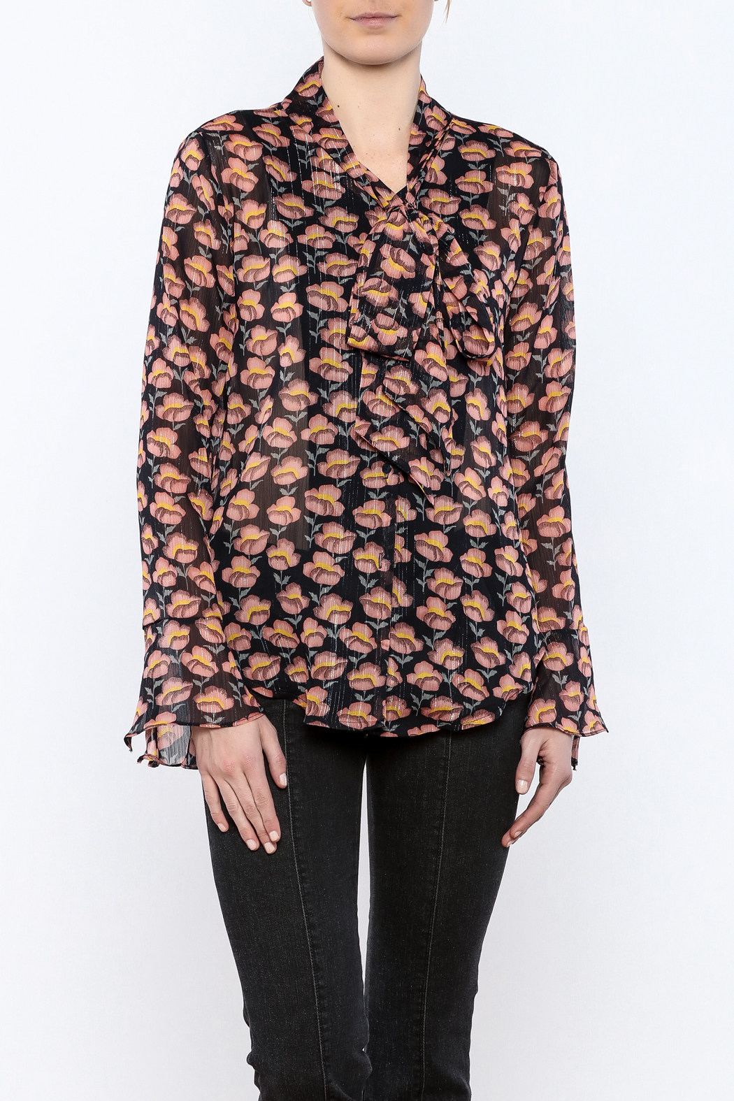 Pinkyotto Flowing Florals Tie Blouse - Front Cropped Image