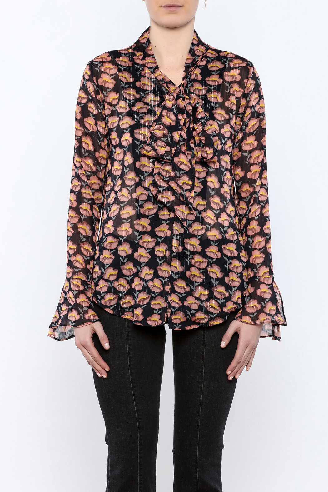 Pinkyotto Flowing Florals Tie Blouse - Side Cropped Image