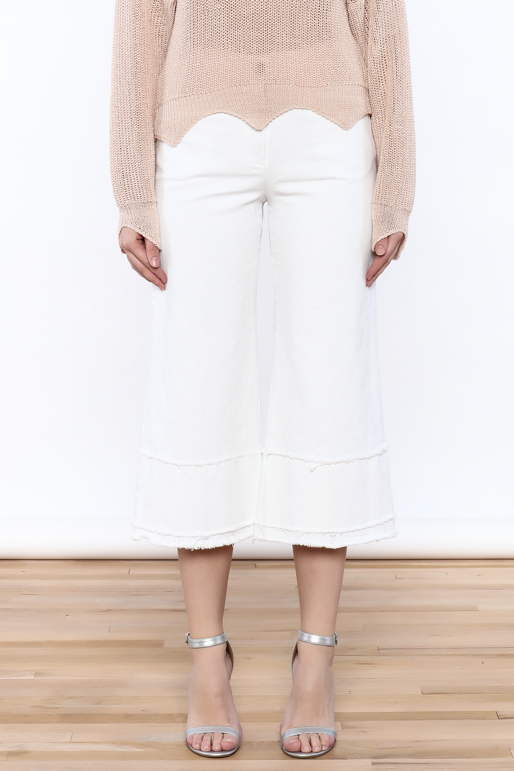 Pinkyotto Frayed Hem Wide Leg Pant - Side Cropped Image