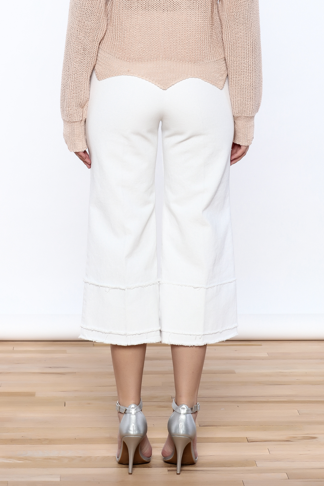 Pinkyotto Frayed Hem Wide Leg Pant - Back Cropped Image