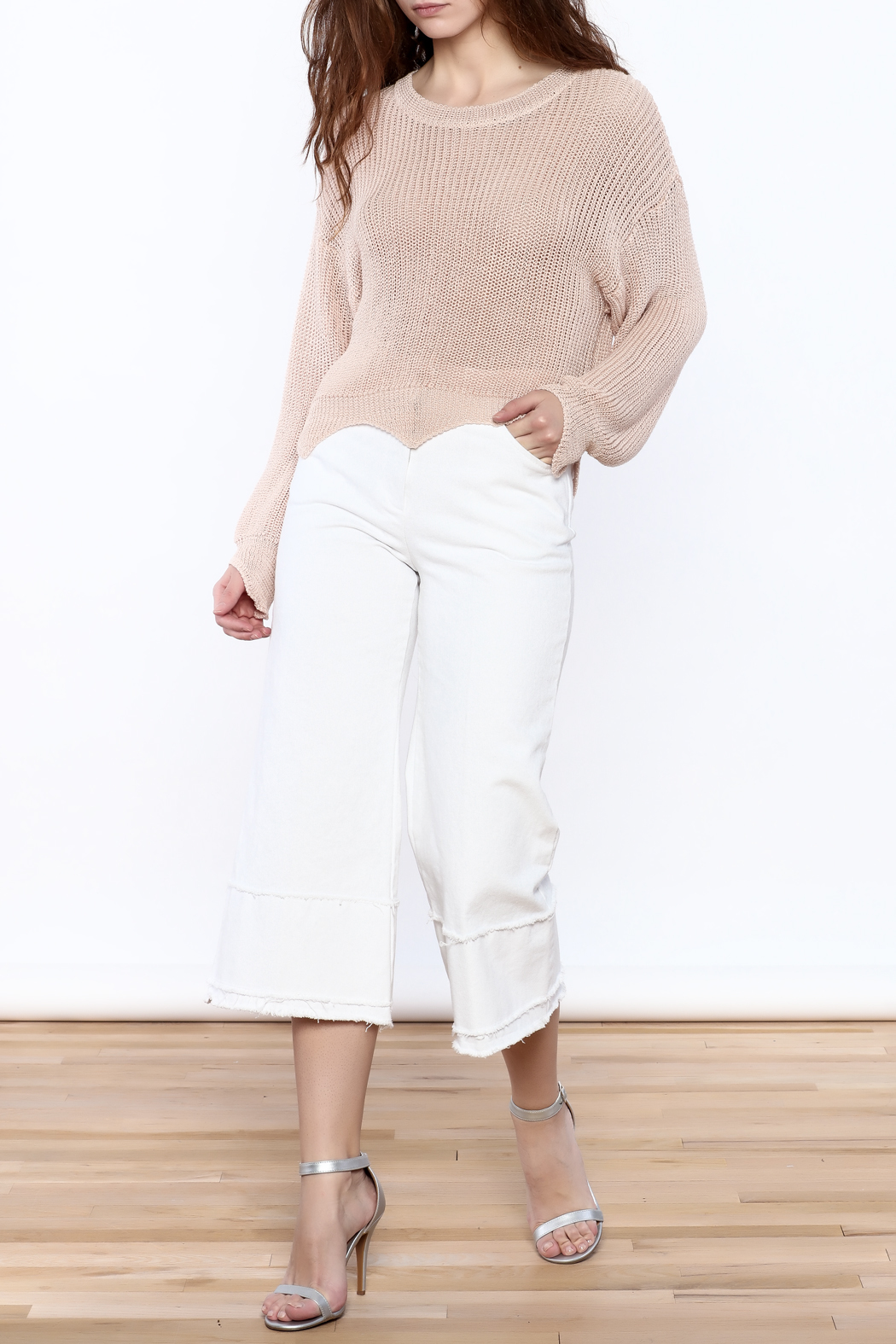 Pinkyotto Frayed Hem Wide Leg Pant - Front Full Image