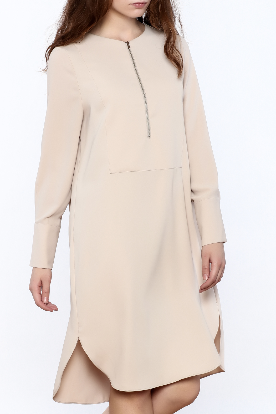 Pinkyotto Zip-Up Knee Dress - Front Cropped Image