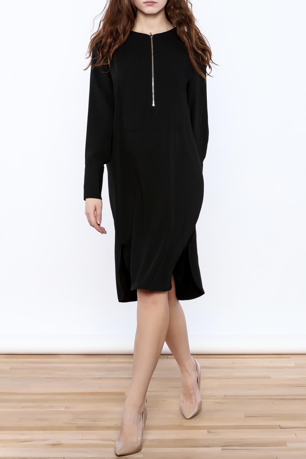 Pinkyotto Zip-Up Knee Dress - Front Full Image