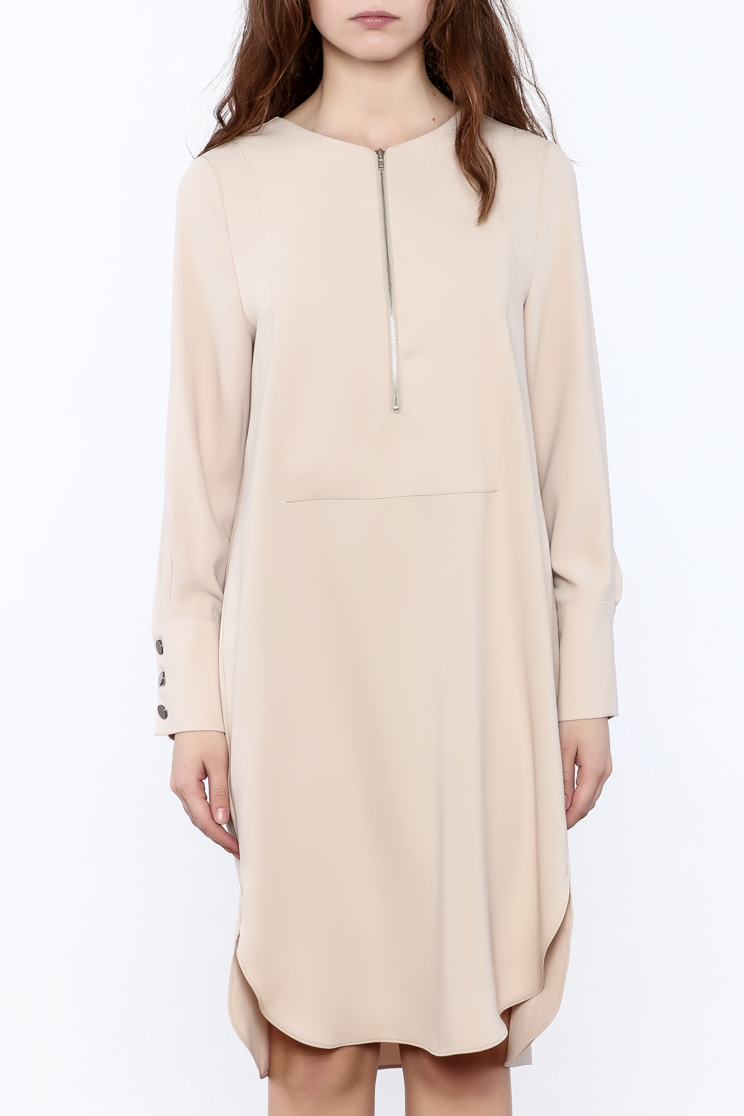 Pinkyotto Zip-Up Knee Dress - Side Cropped Image