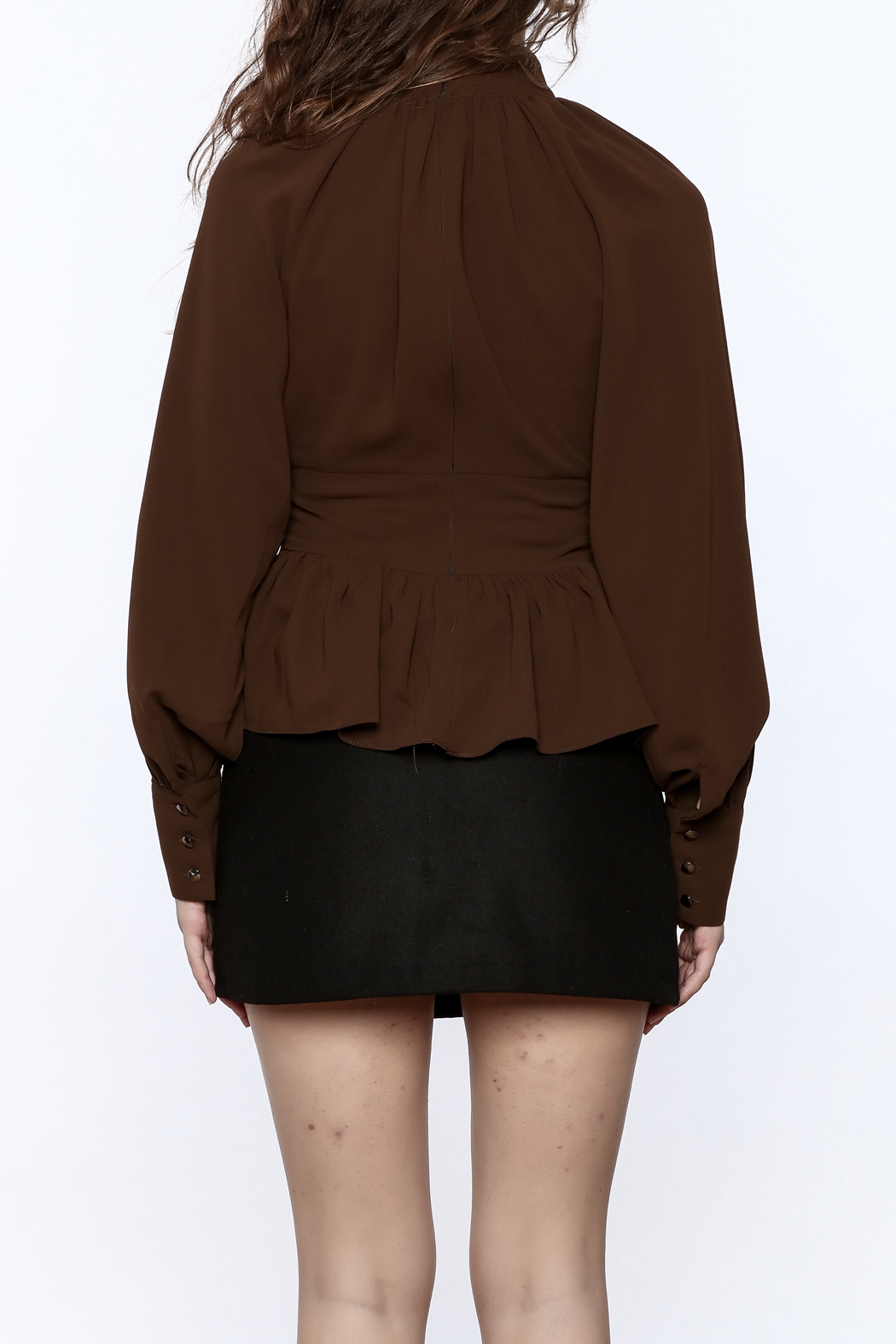 Pinkyotto High Collar Peplum Blouse - Back Cropped Image