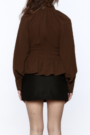 Shoptiques Product: High Collar Peplum Blouse - Back cropped