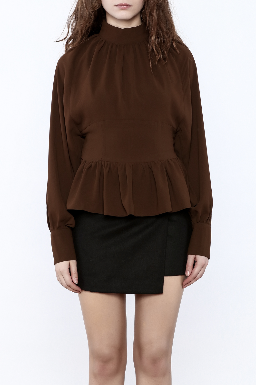 Pinkyotto High Collar Peplum Blouse - Side Cropped Image