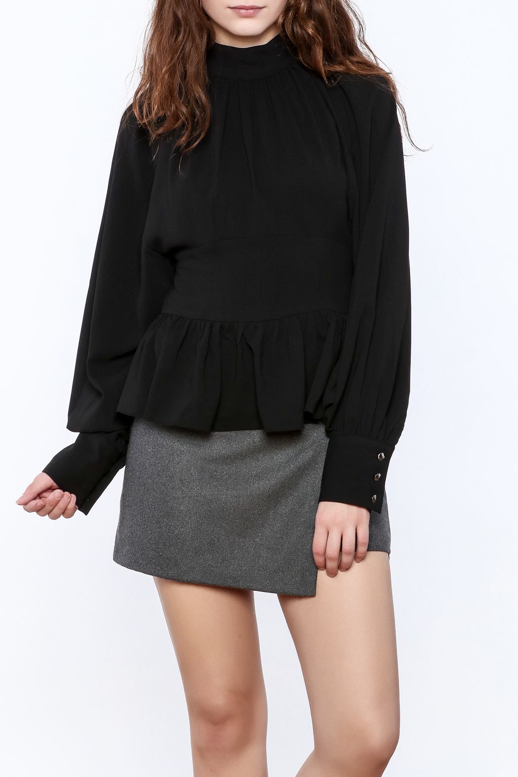 Pinkyotto High Collar Peplum Blouse - Front Cropped Image