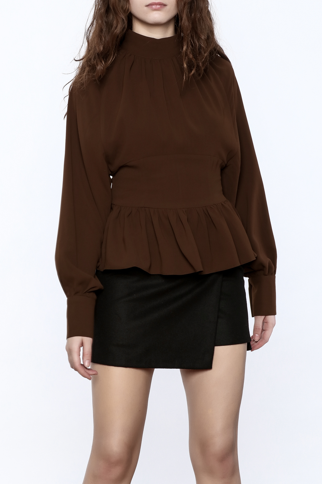 Pinkyotto High Collar Peplum Blouse - Main Image