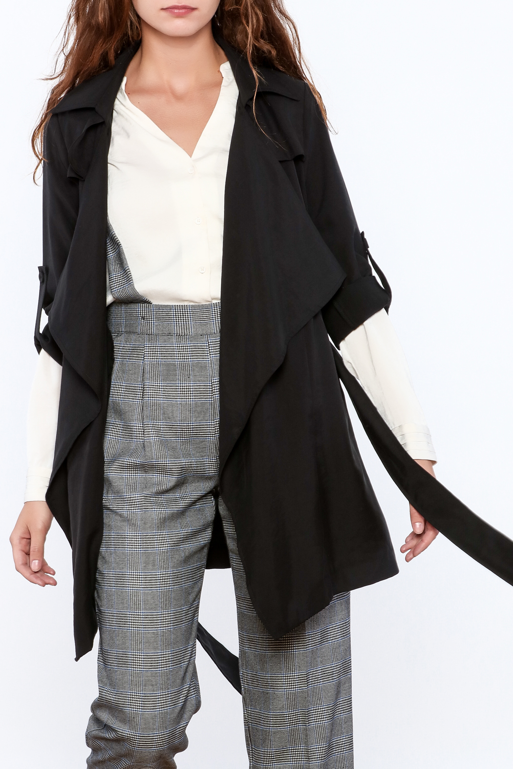 Pinkyotto Black Loose Trench Coat - Front Full Image