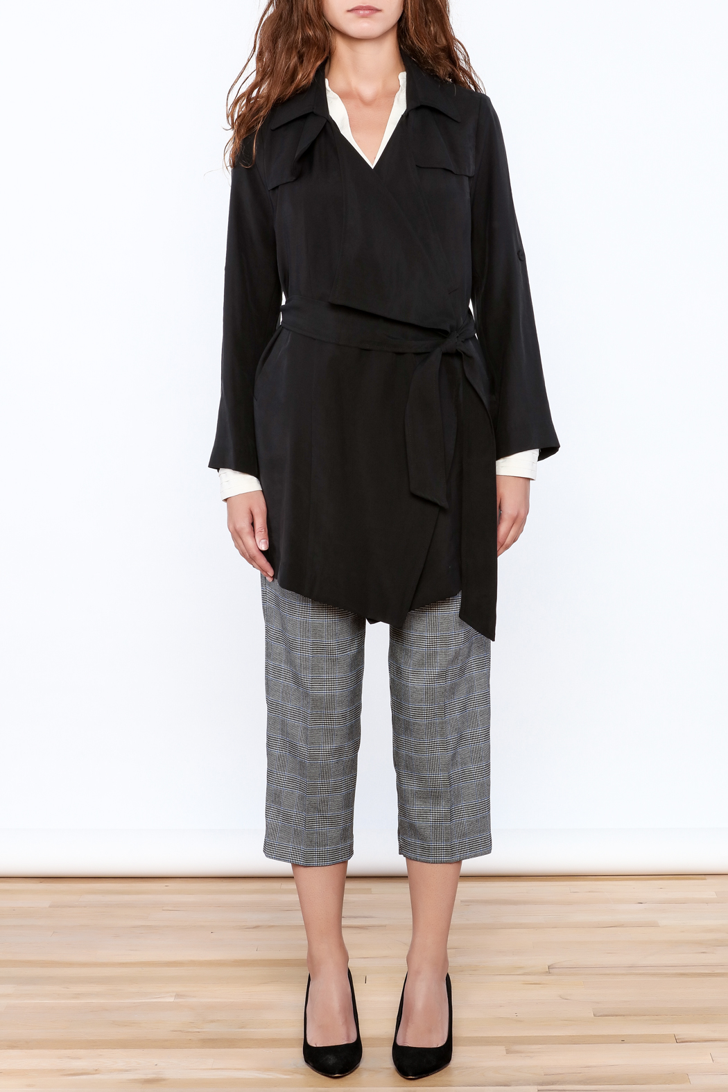 Pinkyotto Black Loose Trench Coat - Side Cropped Image